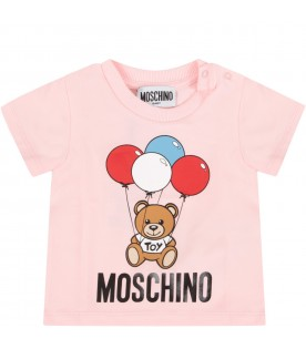 Pink babygirl T-shirt with Teddy Bear and balloons