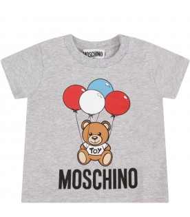 Grey babykids T-shirt with Teddy Bear and balloons