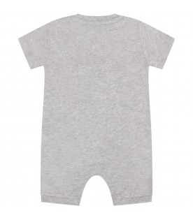 Grey babykids rompers with logo and Teddy bears
