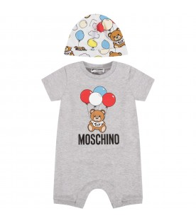 Grey and white babyboy set with Teddy Bear and balloons
