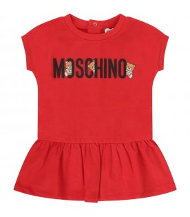 Red babygirl dress with black logo and Teddy Bear
