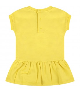 Yellow babygirl dress with black logo and Teddy Bear
