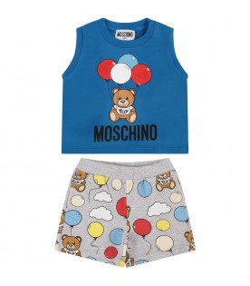 Azure and grey babyboy suit with Teddy bear and balloons