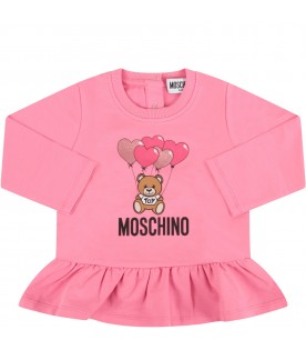 Fuchsia babygirl T-shirt with Teddy bear