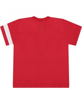 Red T-shirt for baby boy with logo