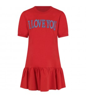 Red dress for girl with light blue writing