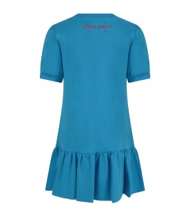 Azure girl dress with red writing