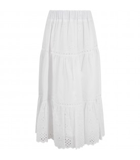 White skirt for girl with hearts