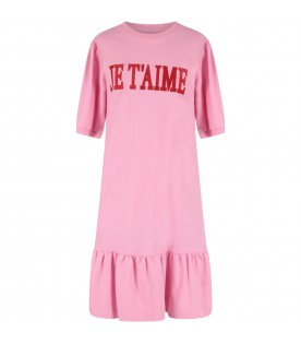 Pink girl dress with red writing