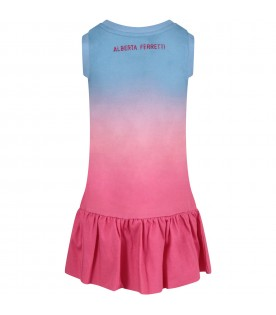 Light blue and fuchsia dress for girl with fuchsia writing