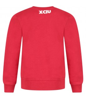 Red sweatshirt for boy with logo