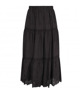Black skirt for girl with hearts