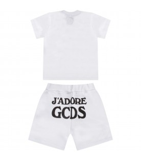 White babykids suit with black writing