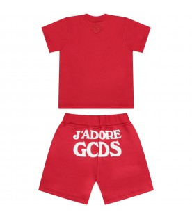 Red babykids suit with white writing