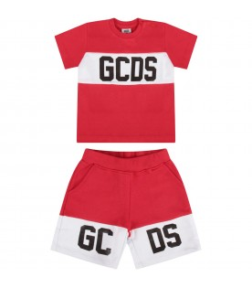 Red babykids suit with black logo