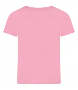Pink girl t-shirt with double logo