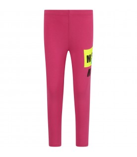 Fuchsia girl leggings with logo