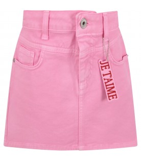 Pink skirt with red writing