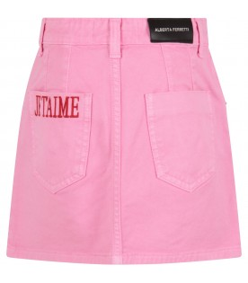 Pink girl skirt with red writing