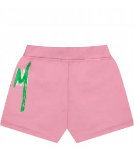 Pink short for baby girl with double logo