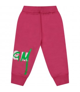 Fuchsia sweatpant with double logo for baby girl