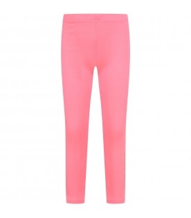 Neon fuchsia girl leggings with logo