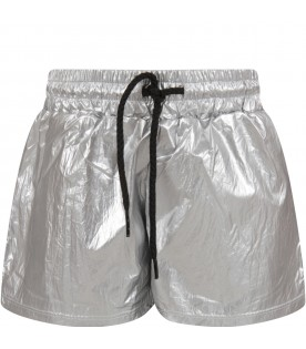 Silver and black girl short with logo
