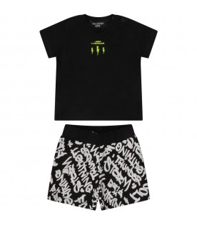 Black suit for baby boy with neon yellow logo