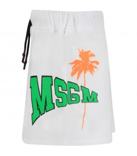 White skirt for girl with neon green logo