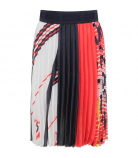 Multicolor girl skirt with logos