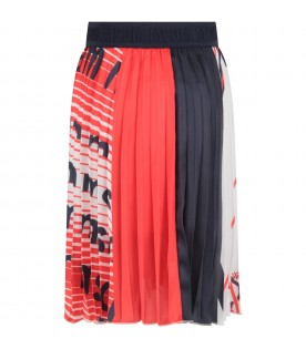 Multicolor skirt with logos for girl