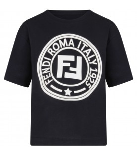 Blue kids T-shirt with white double FF