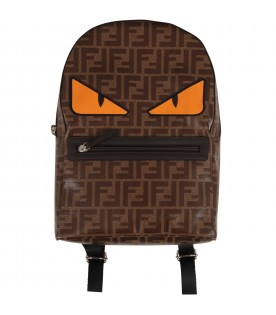 Brown kids backpack with iconic eyes