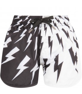 Black and white babuboy swimshort with bolts