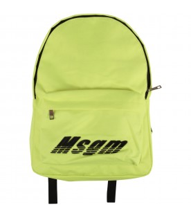 Neon yellow kids backpack with black logo