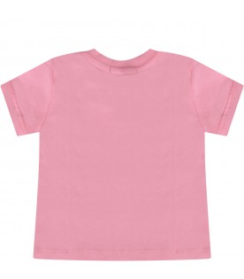 Pink babygirl t-shirt with double logo