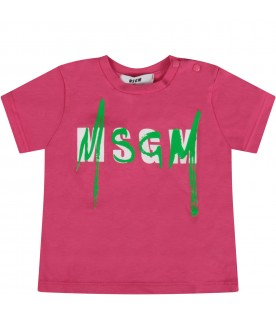 Fuchsia babygirl t-shirt with double logo