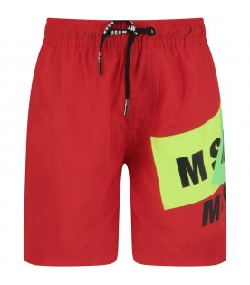Red boy swimsuit with black logo