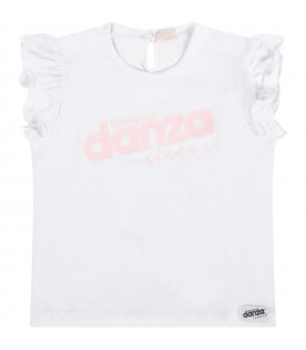 White T-shirt with logo for baby girl