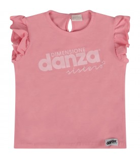 Pink T-shirt with logo for baby girl