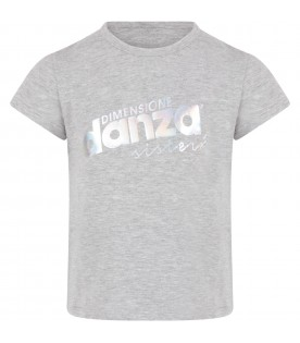 Grey T-shirt with logo for girl