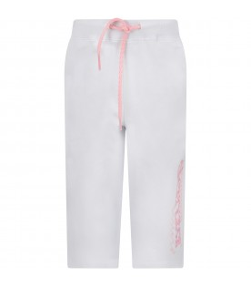 White girl trousers with logo