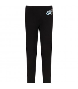Black girl leggings with iridescent logo