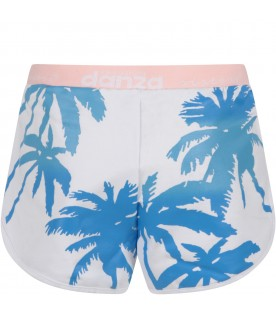 White girl short with azure palms