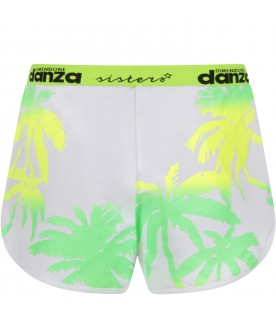 White girl short with neon yellow and green palms