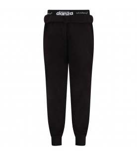Black sweatpant with iridescent logo for girl