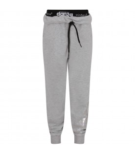 Grey sweatpant with iridescent logo for girl