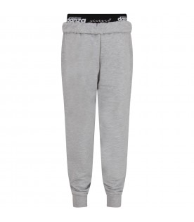 Grey girl sweatpant with iridescent logo