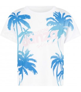 White girl T-shirt with azure palms