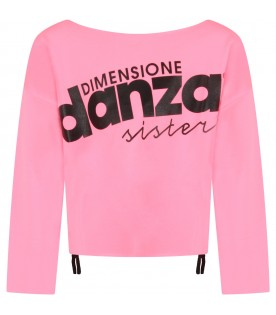 Neon fuchsia girl sweatshirt with logo